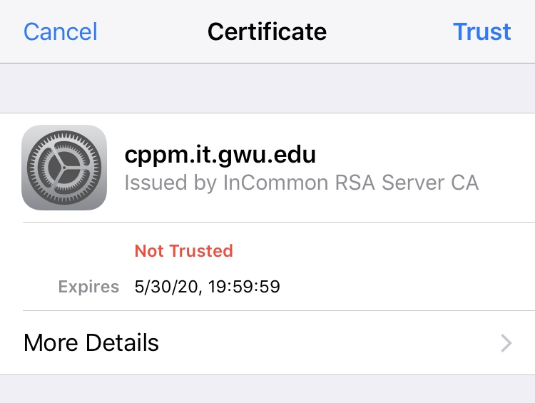 photo of ccpm.it.gwu.edu certificate for GWireless