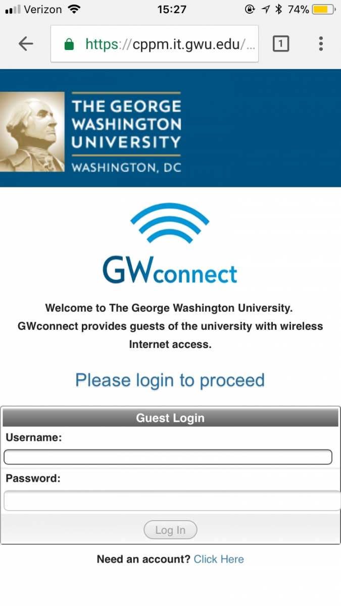Screenshot of GWConnect Splash Page