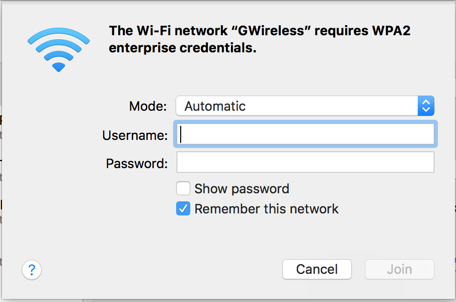 Screenshot of Entering GWireless Connection Credentials on Mac