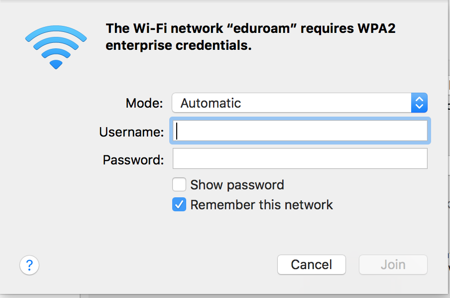 Screenshot of eduroam Connection on Mac