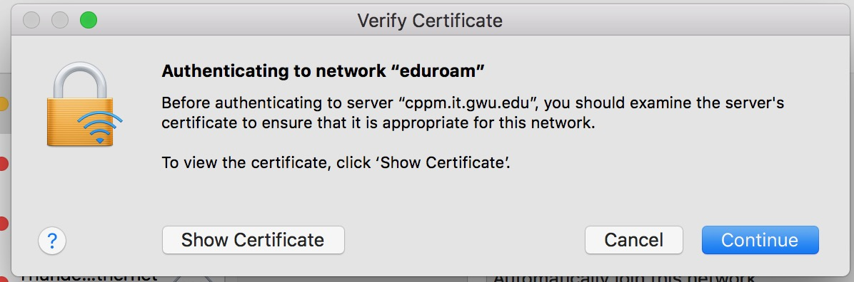 Screenshot of Authenticating Eduroam