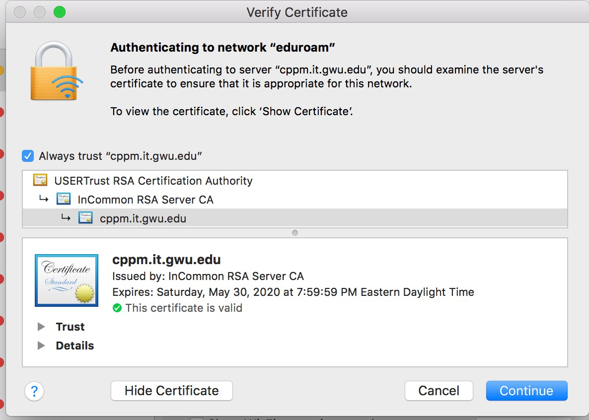 Screenshot of Mac Eduroam Authentication
